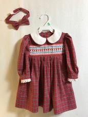 "Smocked dress and matching big brother bowtie for Christmas gifts 2016. Dress is Children's Corner pattern ""Anne- Revised,"" and smocking design is an adaptation of ""Courtney's Hearts"" from The Designer Collection."