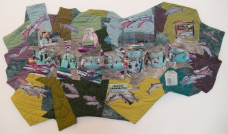 Opening Day on the Yellow Breeches (1998) • 34.5 x 59 in. • Photo transfers of manipulated image files, commercial and hand-dyed cottons, metallic and other threads • Available