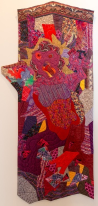 The Bitch (1996) • 72 x 34 in. • commercial cottons and other fabrics, metallic and other threads, thread painting • Private Collection
