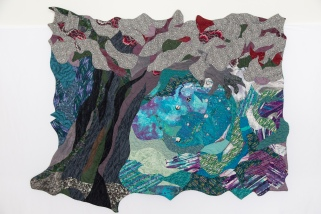 The Risktakers (1996) • 50 x 64.5 in. • commercial cottons and batiks, thread painting, surface embellishments • Private collection